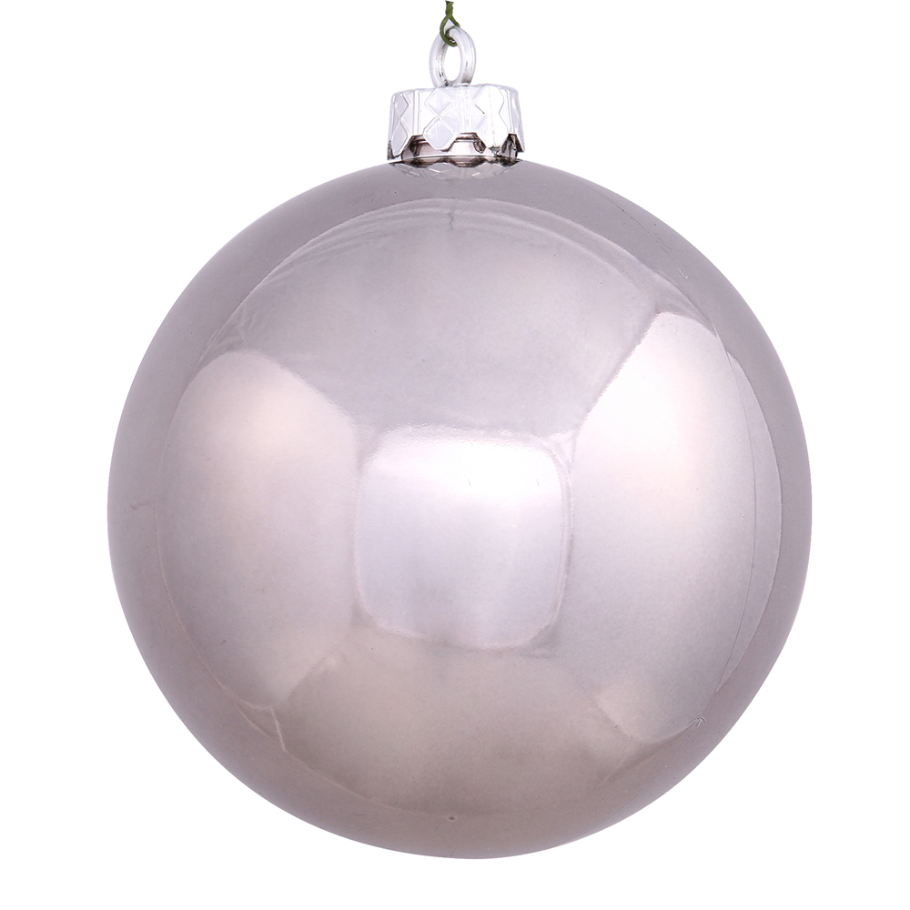 12 Inch Pewter Silver Shiny Round Christmas Ball Ornament Shatterproof UV