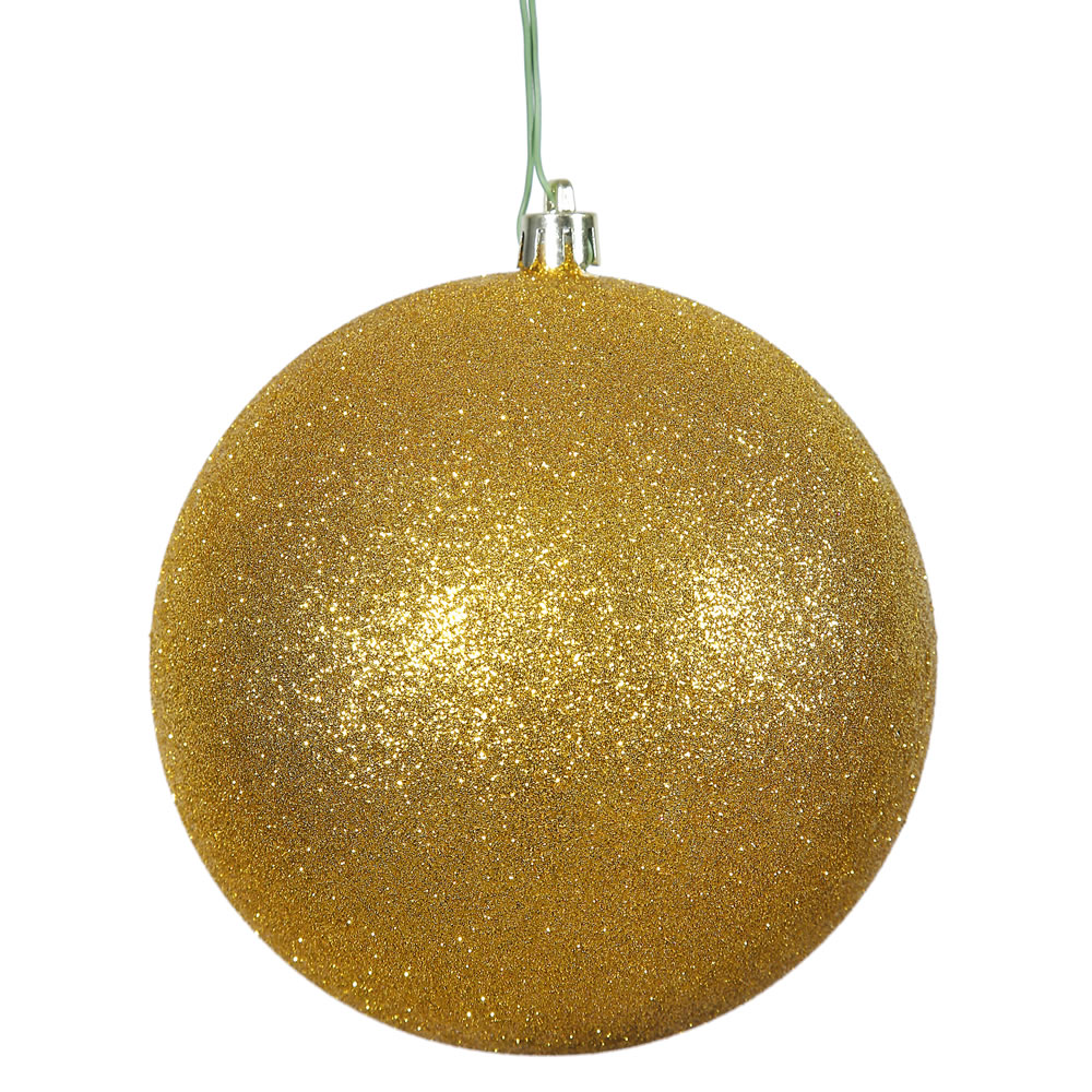 12 Inch Antique Gold Glitter Round Christmas Ball Ornament Shatterproof UV