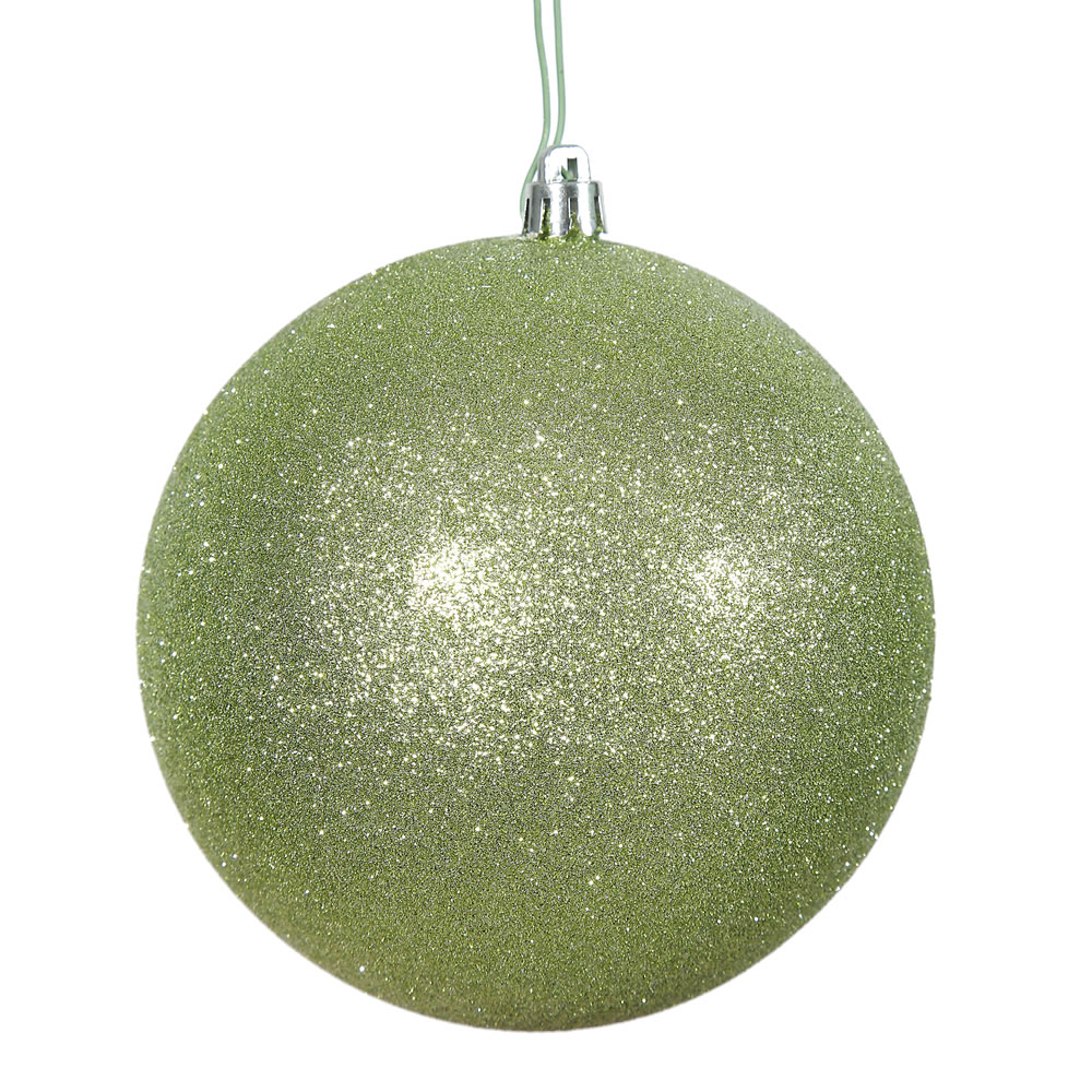 12 Inch Celadon Green Glitter Christmas Ball Ornament Shatterproof