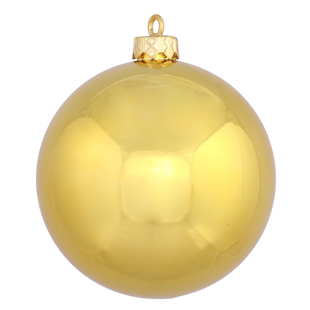 15.75 Inch Golden Shiny Round Christmas Ball Ornament Shatterproof UV