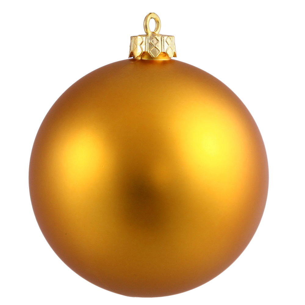 15.75 Inch Antique Gold Matte Round Christmas Ball Ornament Shatterproof UV
