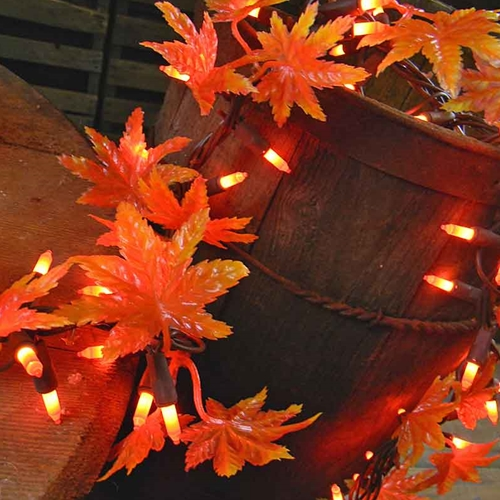 9 Foot Lighted Maple Leaf Garland Halloween Light  2 Inch Spacing Brown Wire Box of 6