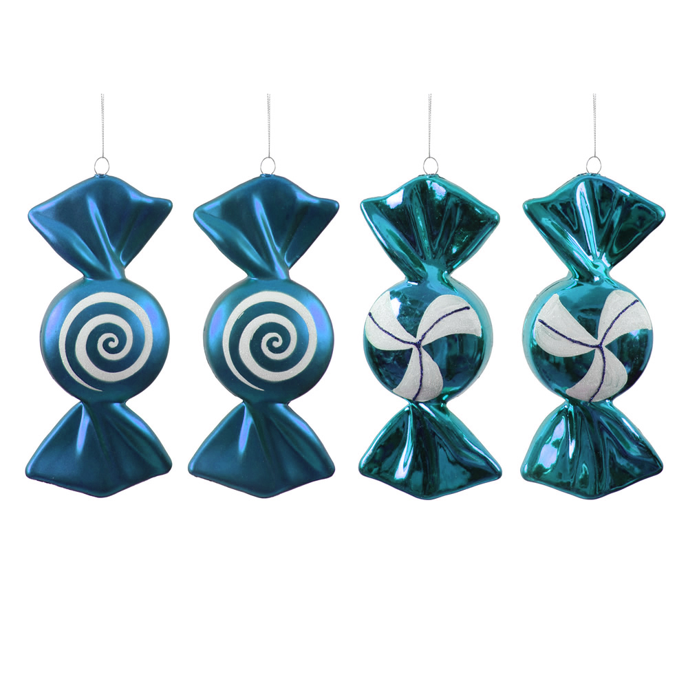 4 Inch Teal and White Candy Christmas Ornament Set