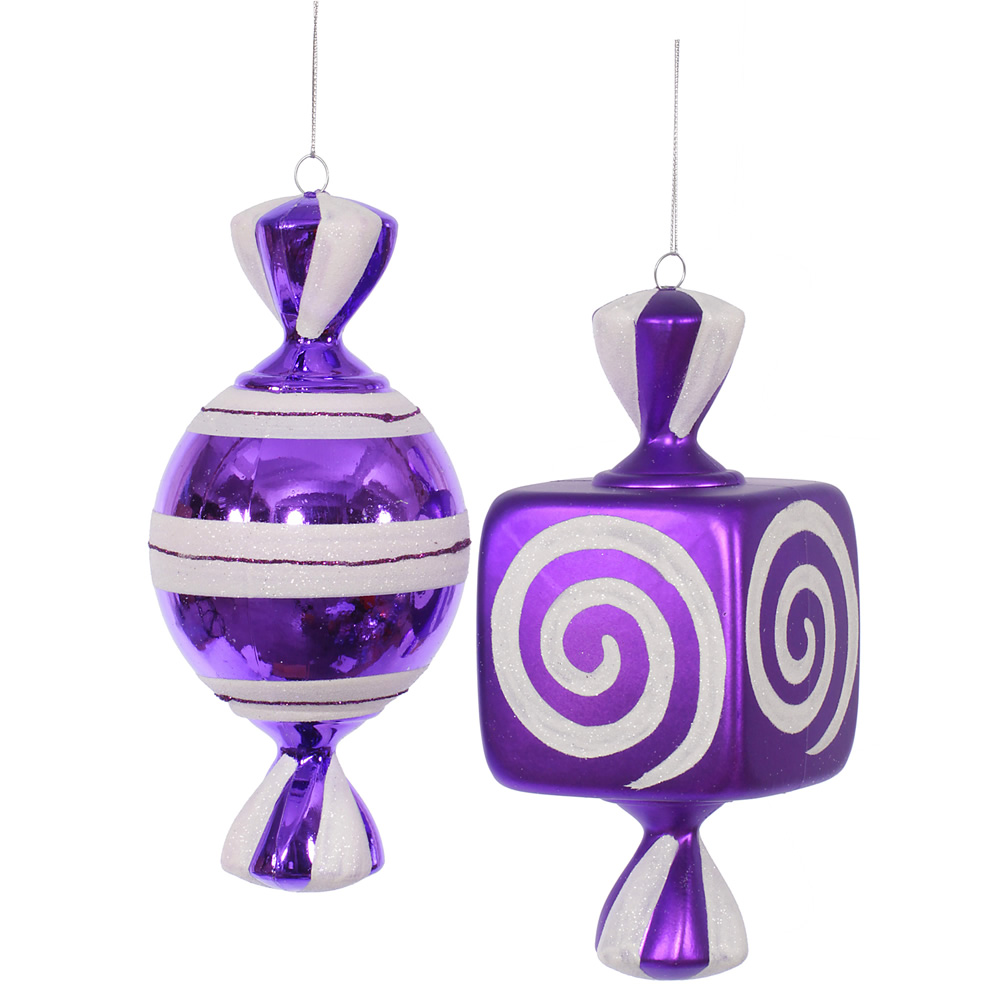 8 Inch Purple Fat Candy Christmas Ornament 2 Assorted