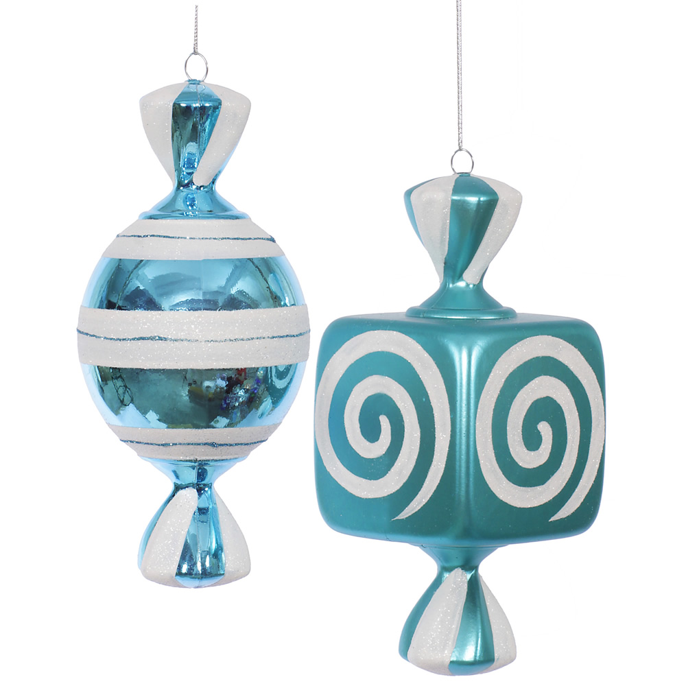 8 Inch Teal Fat Candy Christmas Ornament 2 Assorted