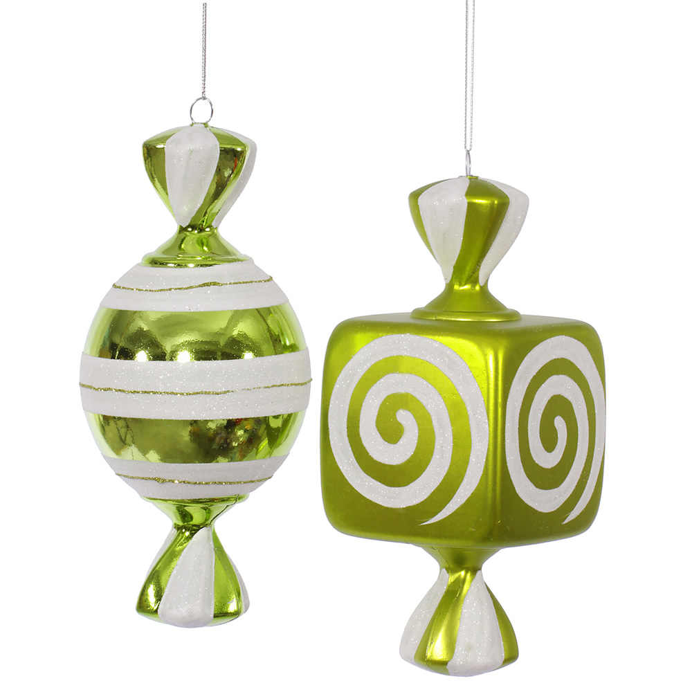 8 Inch Lime Green Fat Candy Christmas Ornament 2 Assorted