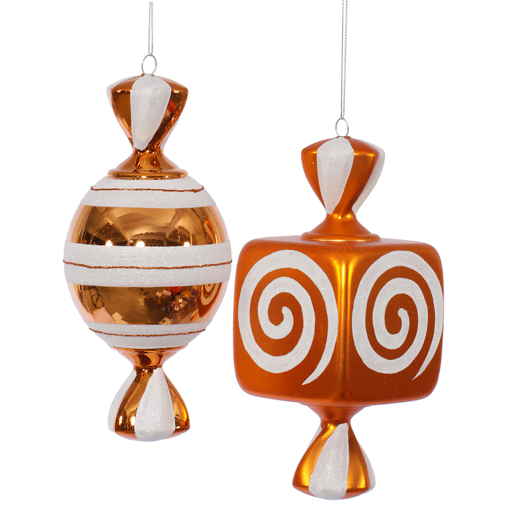 8 Inch Orange Fat Candy Christmas Ornament 2 Assorted
