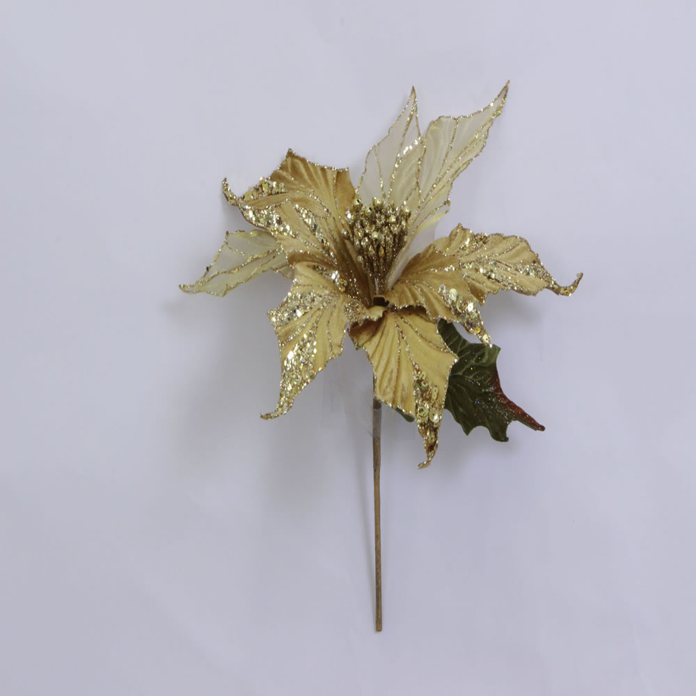 Gold Glitter Velvet Sheer Poinsettia Decorative Christmas Floral Pick