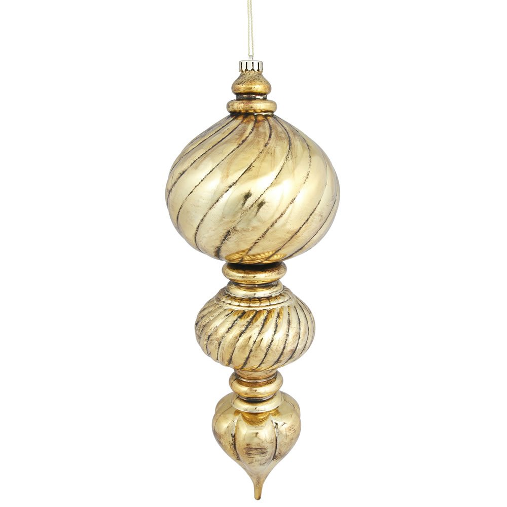 21 Inch Antique Gold Sculpted Finial Christmas Ornament Shatterproof