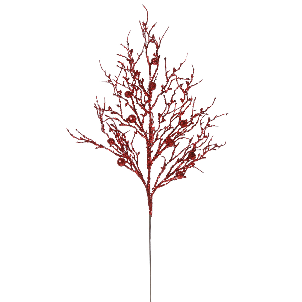Red Sparkle Berry Twig Decorative Artificial Christmas Spray Set of 6