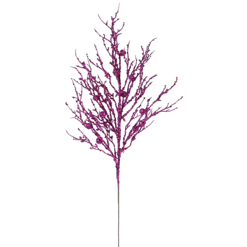 Cerise Pink Sparkle Berry Twig Decorative Artificial Christmas Spray Set of 6