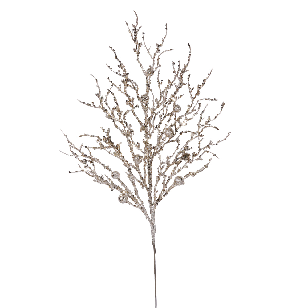 Champagne Sparkle Berry Twig Decorative Artificial Wedding Spray Set of 6