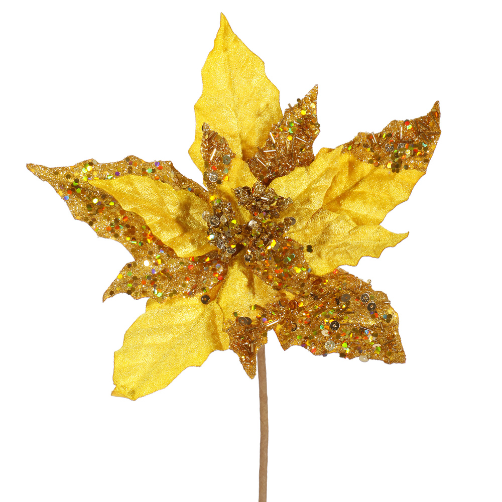 Gold Velvet Mica Poinsettia Decorative Christmas Floral Spray Set of 12