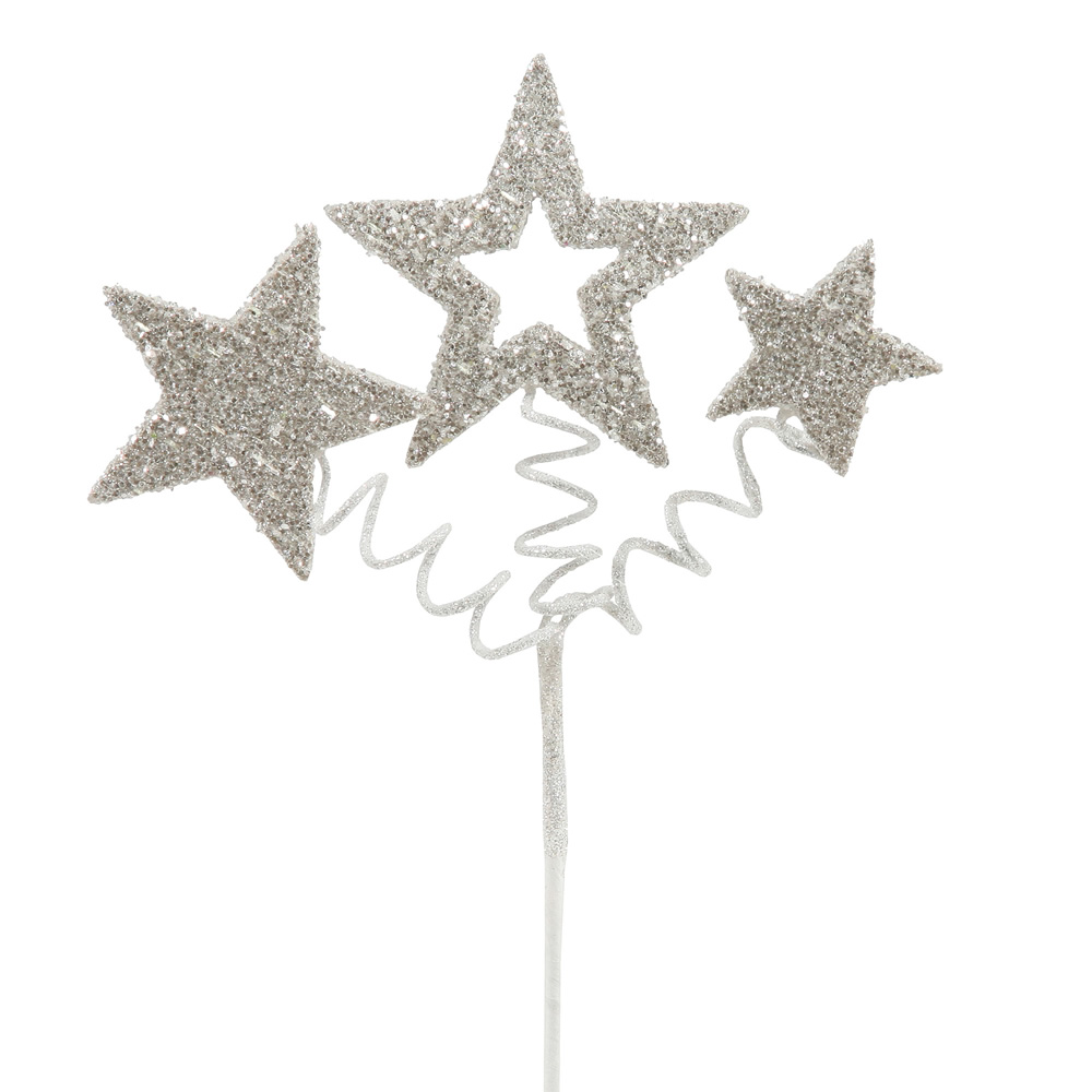 White Glitter Star Decorative Artificial Wedding Spray Set of 24