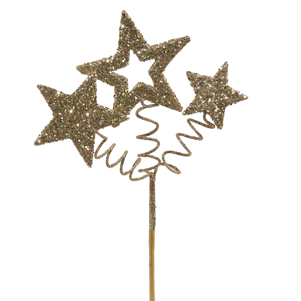 Champagne Glitter Star Decorative Artificial Wedding Spray Set of 24