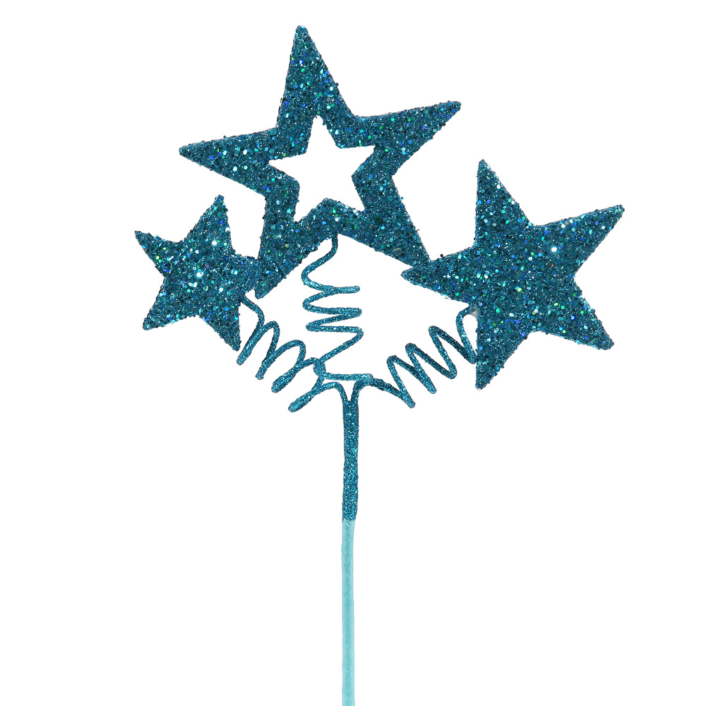 Turquoise Glitter Star Decorative Artificial Christmas Spray Set of 24