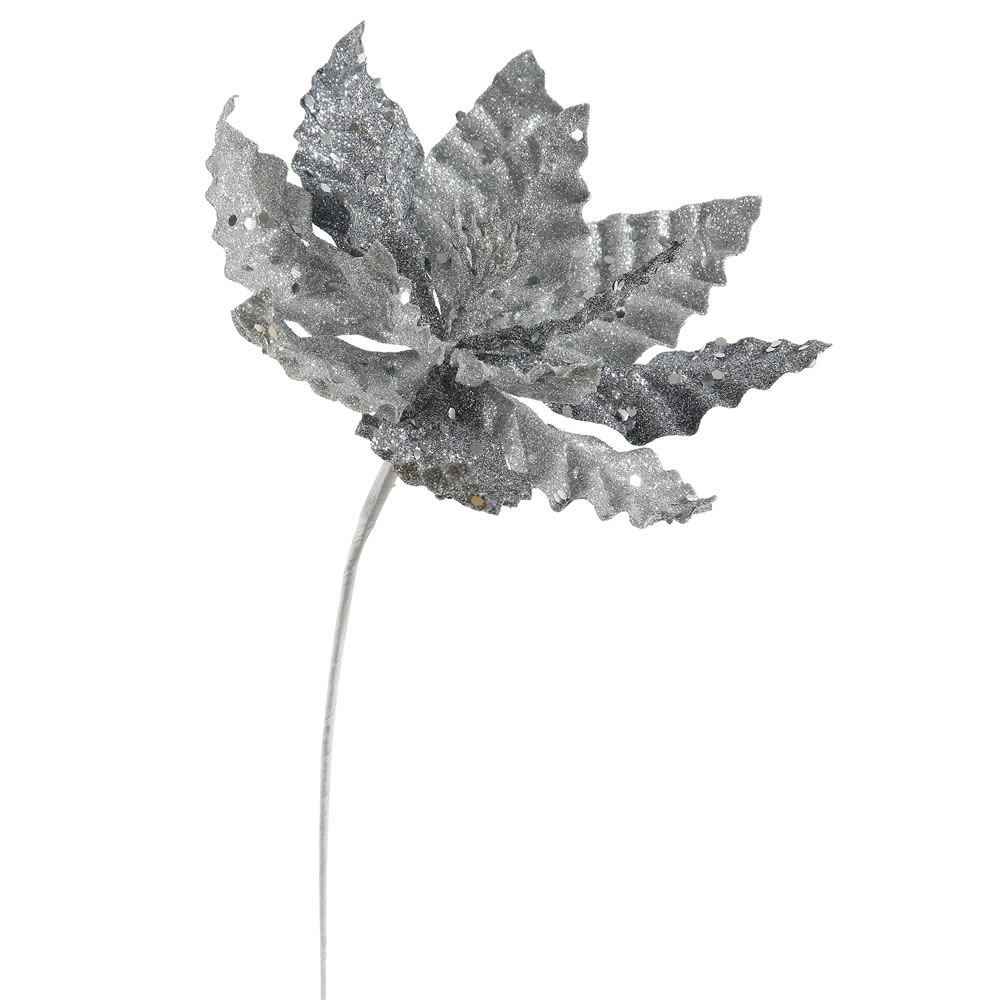 Silver Sparkle Poinsettia Decorative Christmas Floral Pick