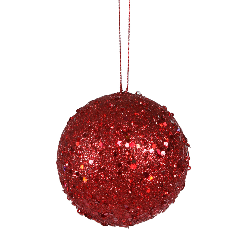 4 Inch Red Sequin Round Ornament