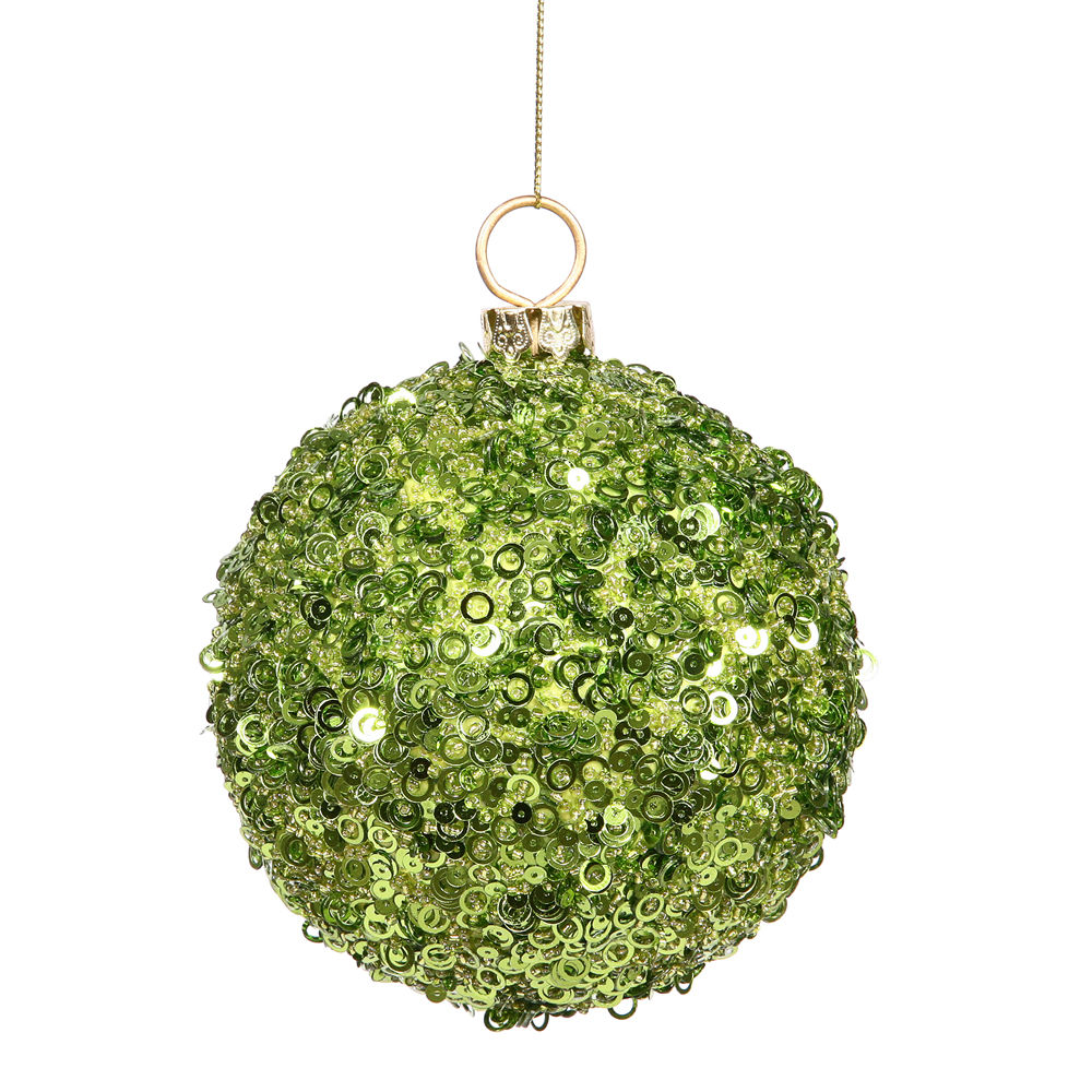 4 Inch Green Sequin Round Ornament