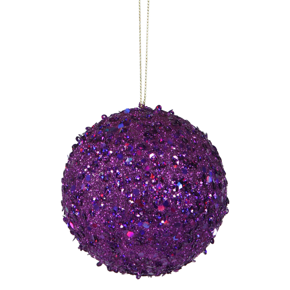 4 Inch Purple Sequin Round Ornament