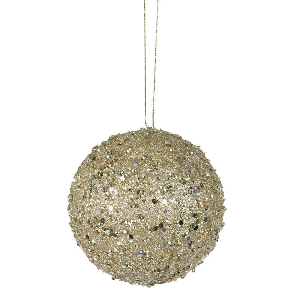 4 Inch Gold Jewel Round Ornament