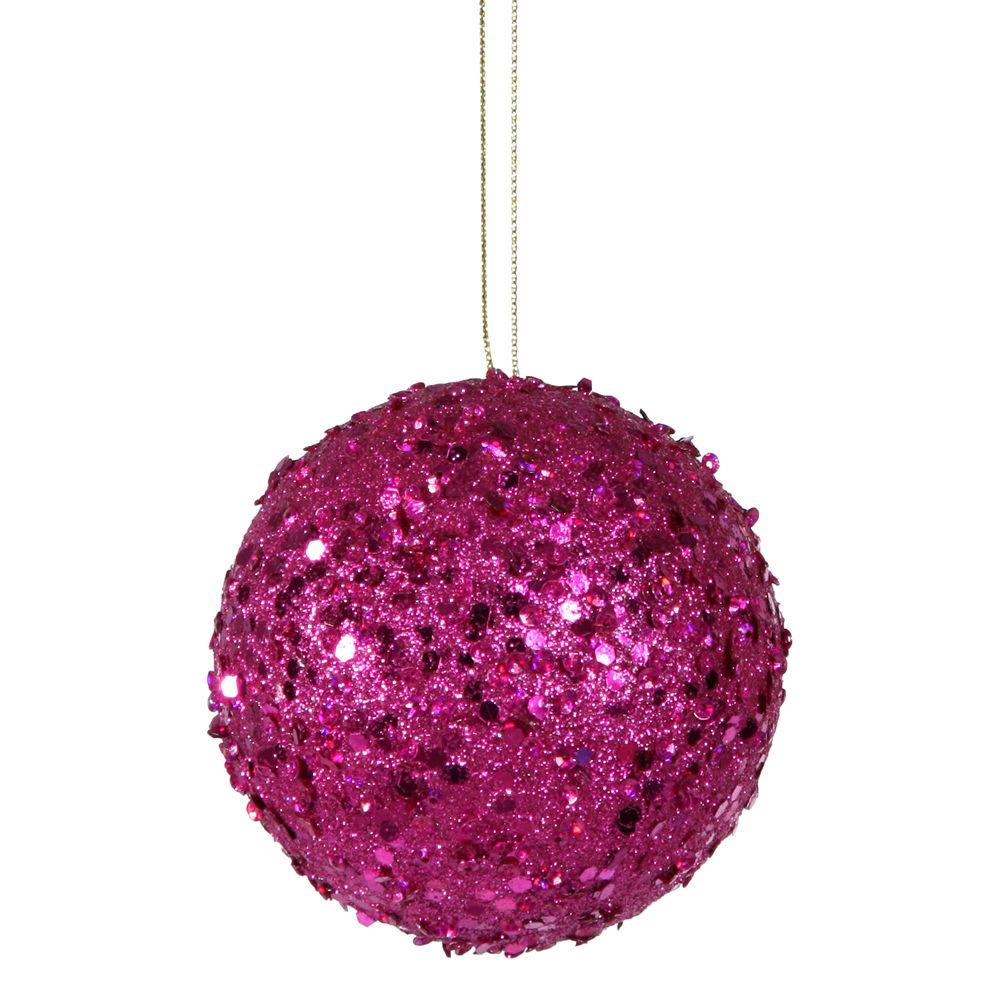 4 Inch Magenta Sequin Round Ornament