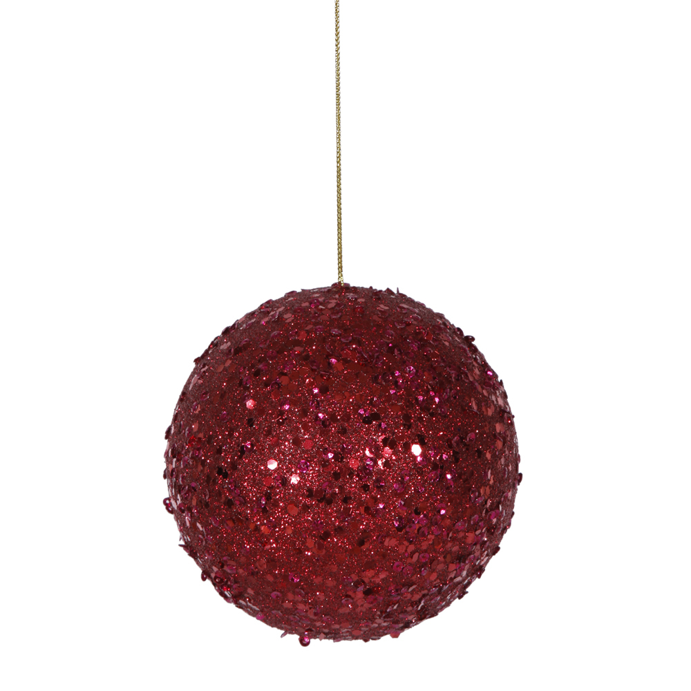 4 Inch Deep Red Sequin Round Ornament