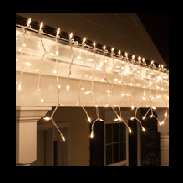 100 incandescent mini clear icicle lights 3 inch spacing white wire