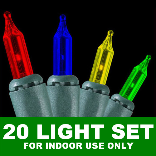20 Multi Color Incandescent Mini Christmas Lights Green Wire