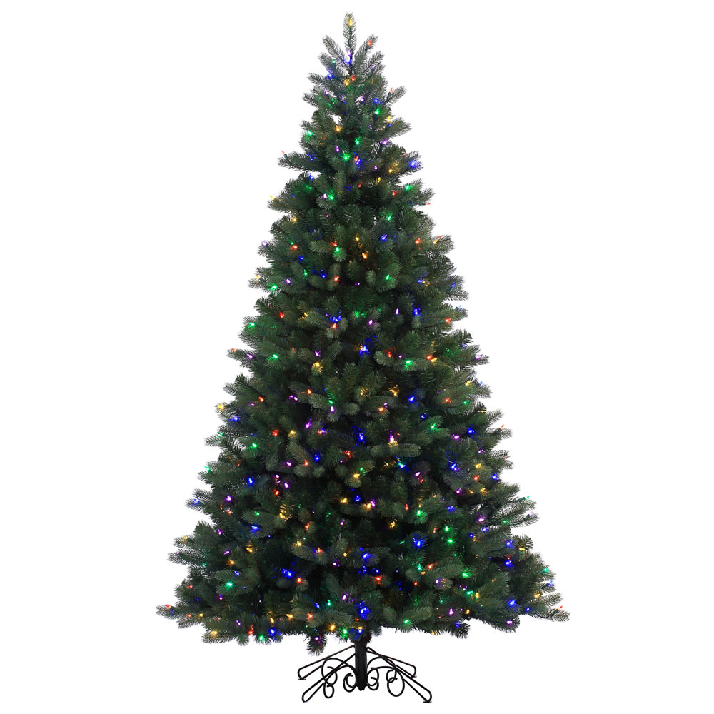 6.5 Foot Noble Spruce Instant Shape Artificial Christmas Tree 500 LED M5 Italian Multi Color Mini Lights