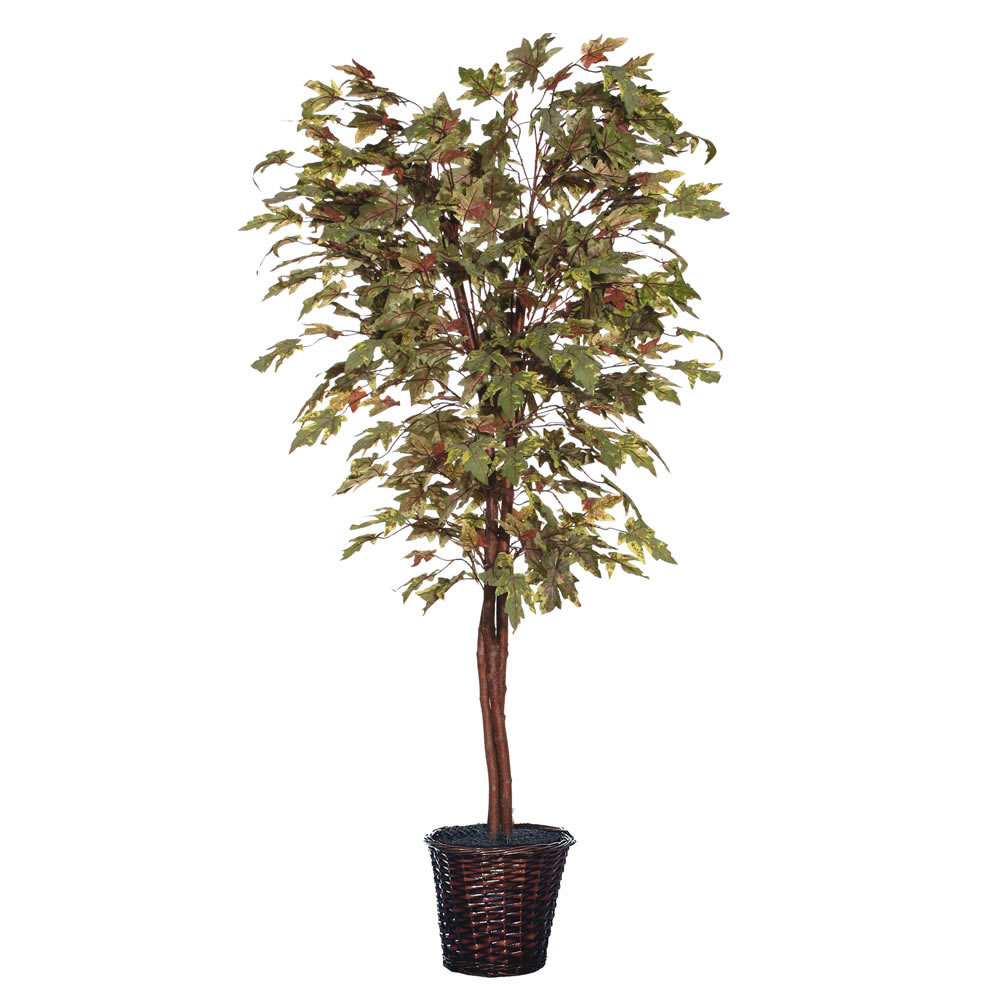 6 Foot Frosted Maple Deluxe Potted Artificial Plant Unlit