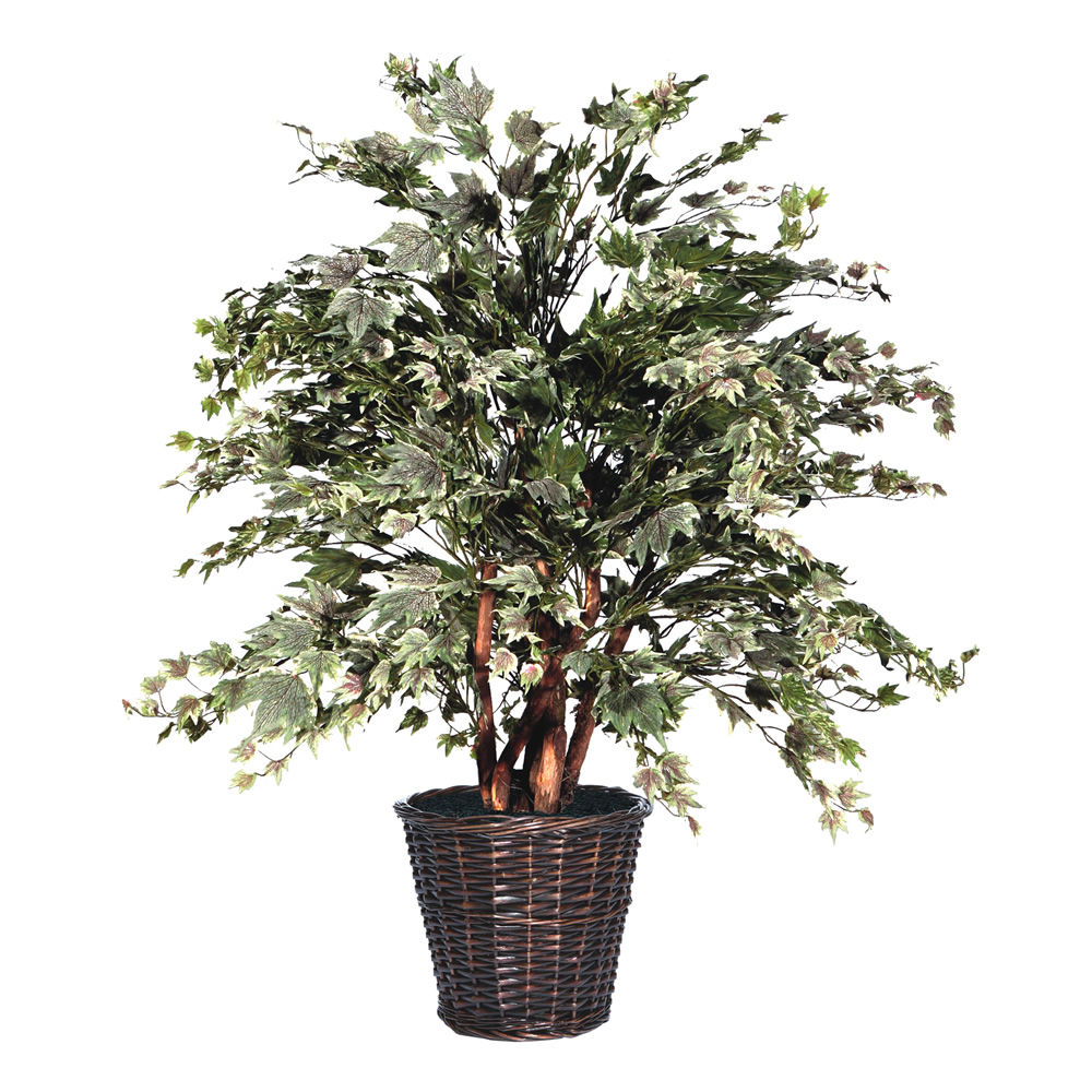 4 Foot Frosted Silver Maple Potted Artificial Plant