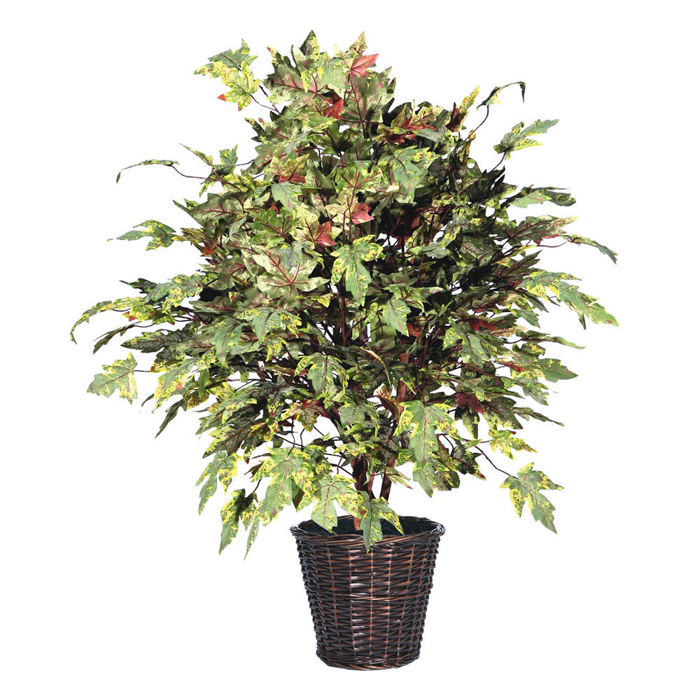 4 Foot Frosted Maple Potted Artificial Plant
