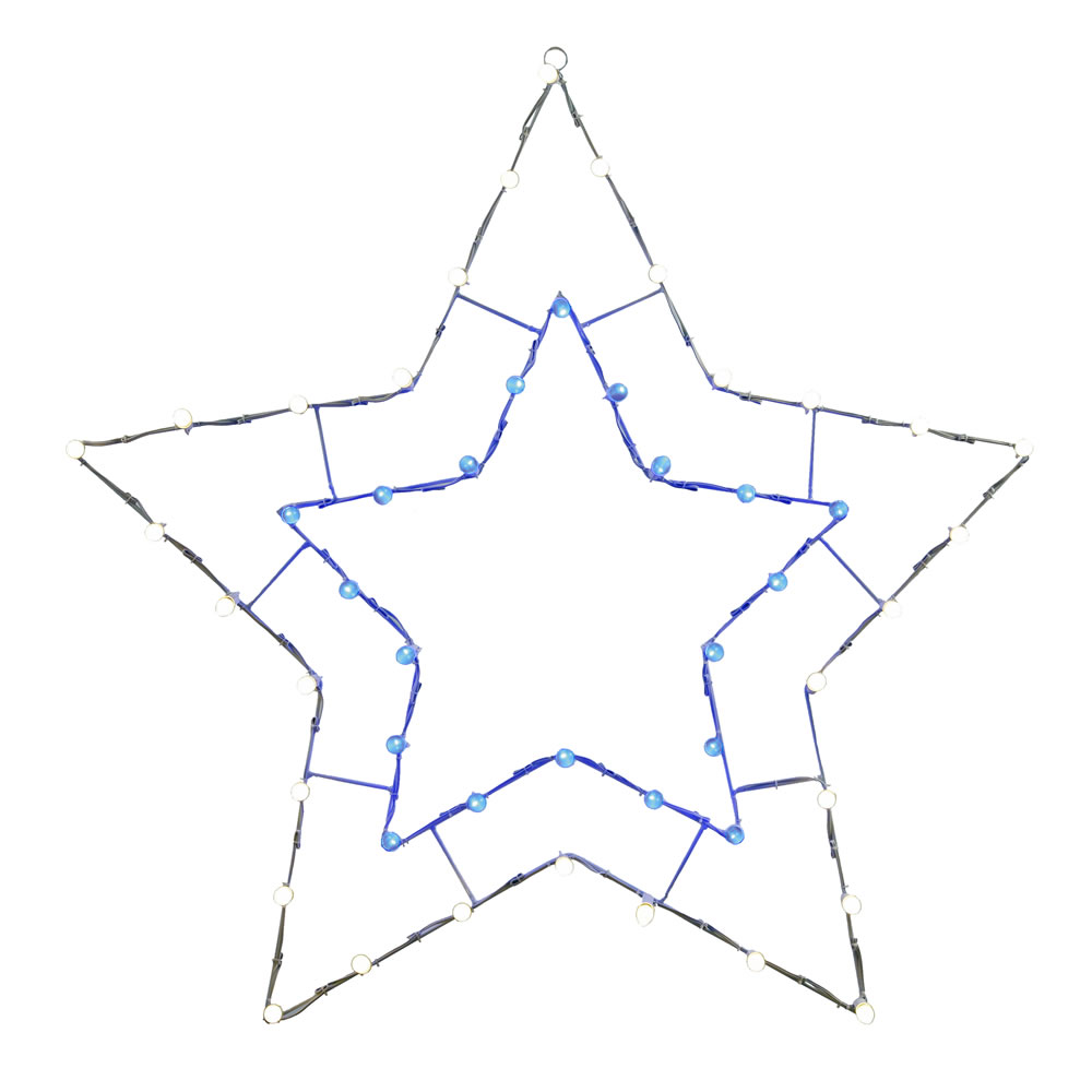 Lighted Blue And White 5 Point Star Wire Frame Decoration 50 C7 Lights