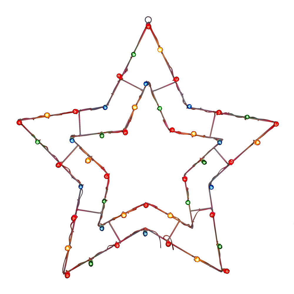 5 Point Star Wire Frame Decoration C7 Multi Lights