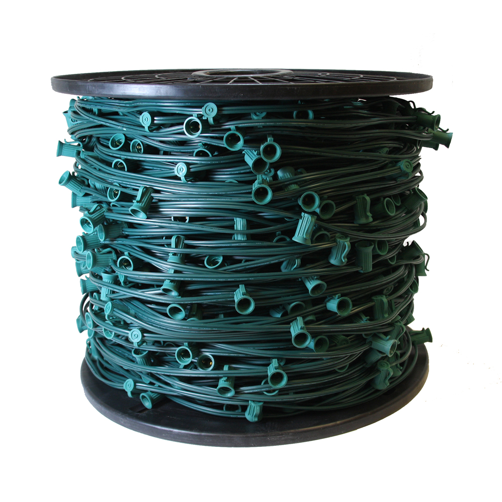 1000 Foot C7 Night Light Socket Spool Christmas Light Cord 18 Gauge Green Wire 12 Inch Spacing