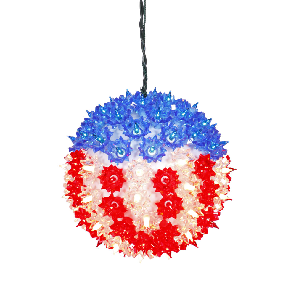 7.5 Inch Patriotic US Flag Starlight Sphere - 100 Red White And Blue Incandescent Lights