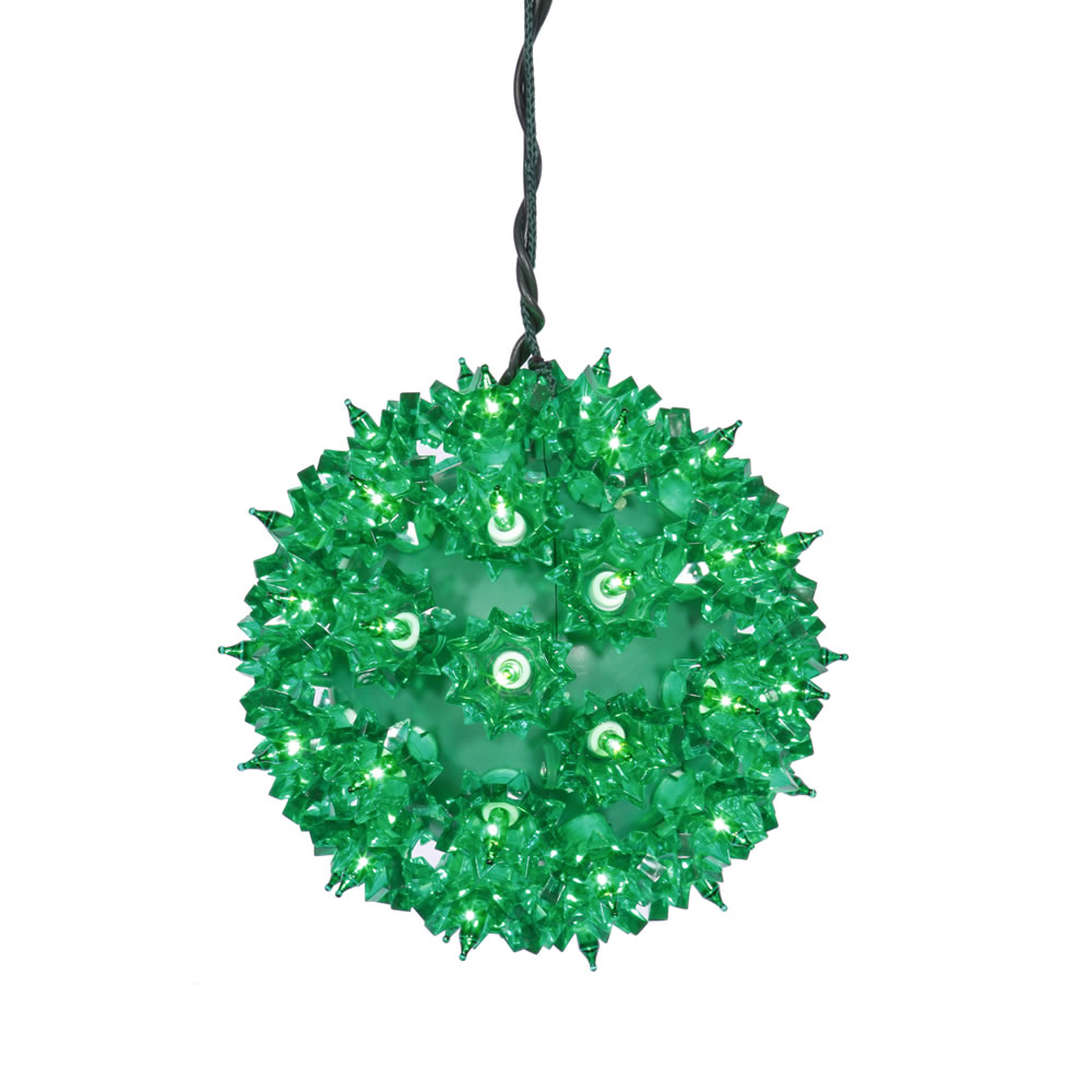 6 Inch Green St Patrick Twinkle Star Sphere 50 Green Lights