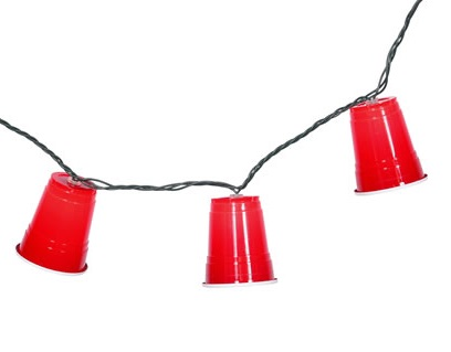 10 Plastic Red Party Cup Lights Mini Clear Bulbs Green Wire
