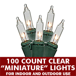 100 Incandescent Mini Clear Christmas Light Set 4 Inch Spacing Green Wire