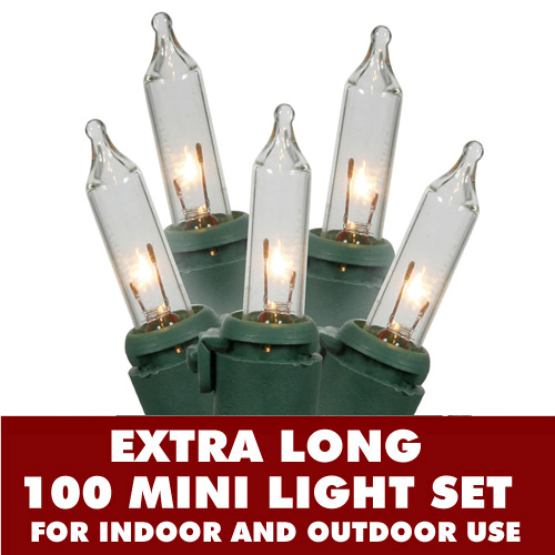 100 Incandescent Mini Extra Long Clear Christmas Light Set With Lamp Locks Green Wire