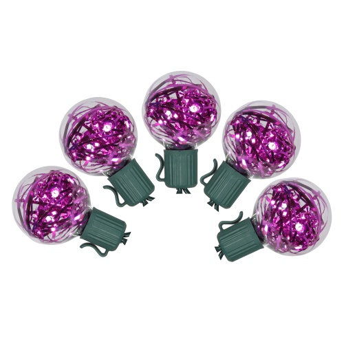 25 Purple LED G40 Tinsel Lights Green Wire 12 Inch Spacing