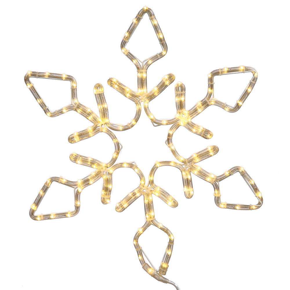 24 Inch Diamond Snowflake Christmas Decoration 130 LED Pure White Lights