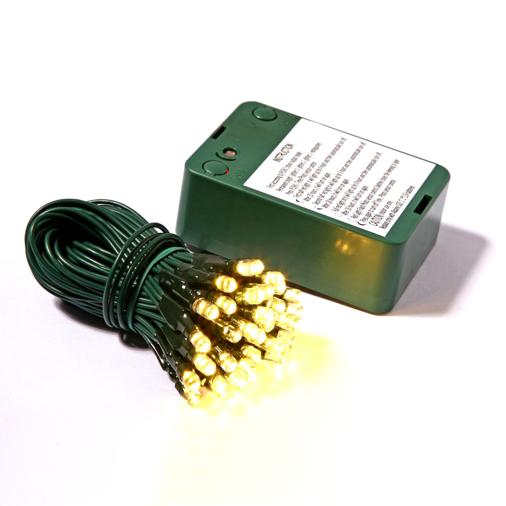 35 battery operated led 5mm wide angle warm white christmas light set sensor timer green wire