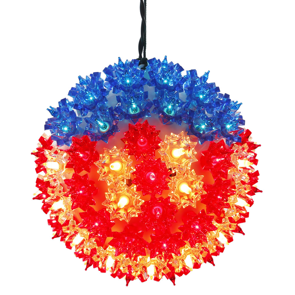 7.5 Inch Patriotic US Flag Starlight Sphere - 100 Red White And Blue LED M5 Lights
