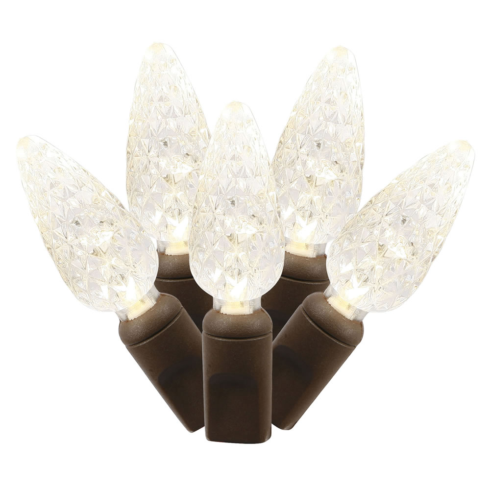 50 Commercial Grade LED C6 Strawberry Faceted Warm White Christmas Light Set Brown Wire