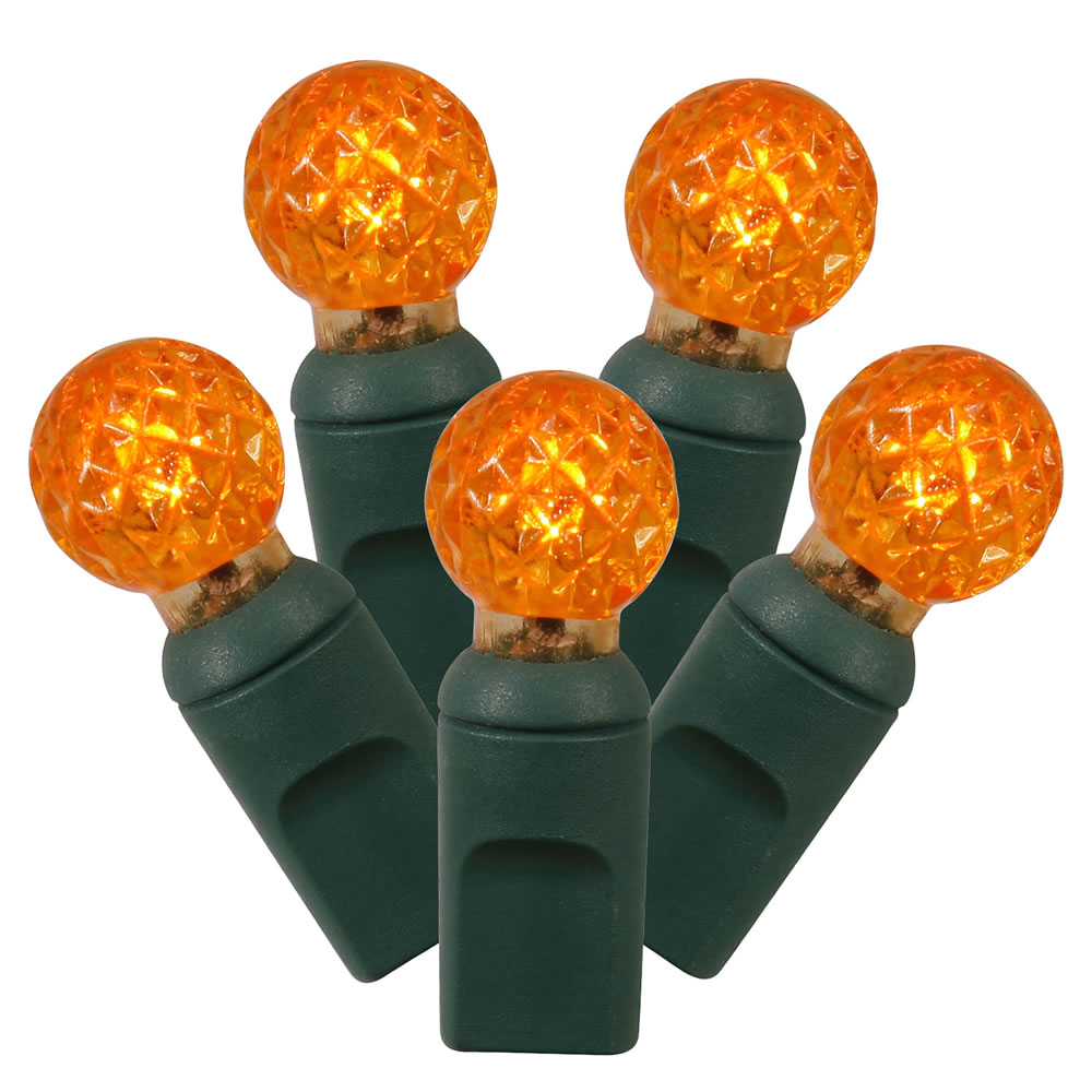 50 LED G12 Orange Globe Christmas Light Set 6 Inch Spacing Green Wire