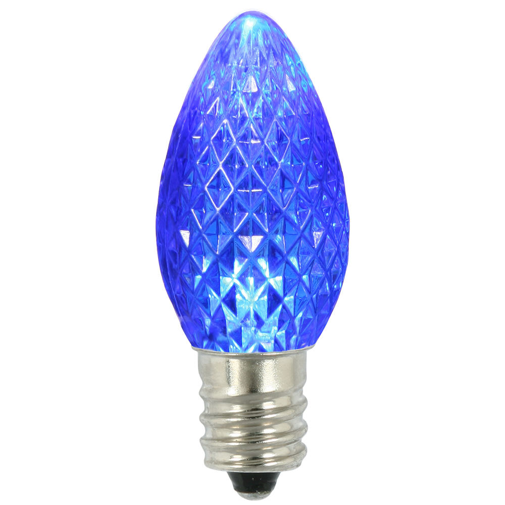 25 LED C7 Blue Faceted Retrofit Night Light Replacement Bulbs