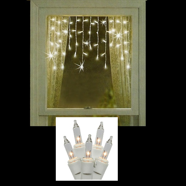 50 Clear Window Icicle Lights White Wire Pack of 12