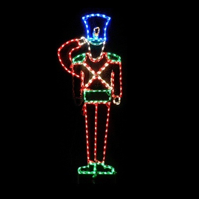 Soldier Saluting Animated LED Lighted Outdoor Lawn Decoration  6 Foot